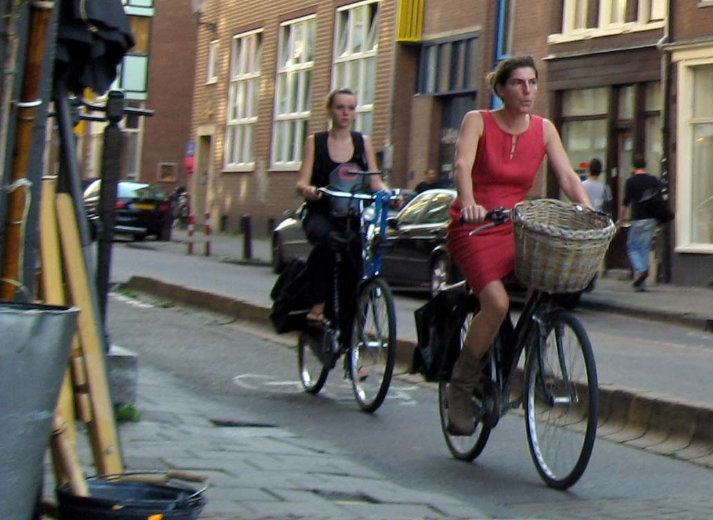 Short skirts on bicycles