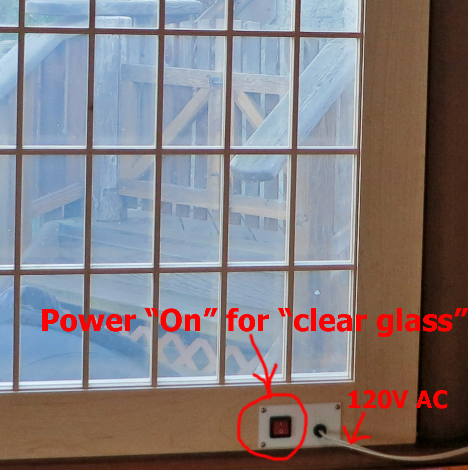 Rick samish custom cabinets in beach cottage with no power supplied the window is opaque you cannot see through it the clear setting you see below draws 009 amps 3 watts 120 volts sciox Choice Image